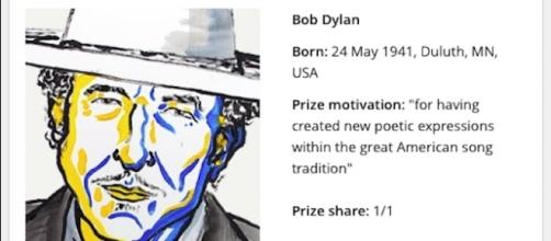 "Courtesy: ""Bob Dylan - Facts"". Nobelprize.org. Nobel Media AB 2014. Web. 13 Oct 2016"