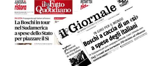 Le prime pagine del 28 settembre 2016 del Fatto Quotidiano e del Giornale