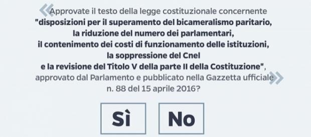 Testo del quesito referendario sulla legge costituzionale