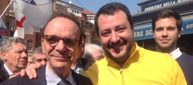 Il leader dell Lega, Matteo Salvini, in compagnia di Stefano Parisi