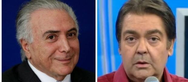 Presidente Michel Temer e o apresentador Fausto Silva