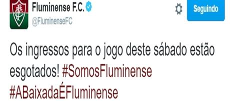Pelo Twitter, Fluminense revela ingressos esgotados para partida contra o Sport (Foto: Explosão Tricolor)