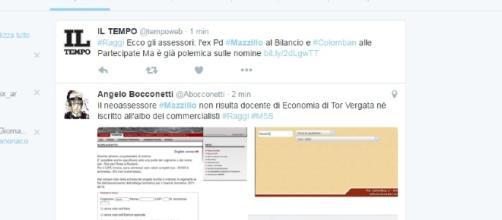 La pagina di Twitter con l'hashtag 'Mazzillo' dedicato al nuovo assessore al Bilancio di Roma