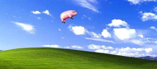 An inflatable pig flew overhead at the Pink Floyd show's launch