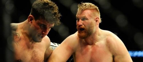 Josh Barnett (right) at UFC 164 vs. Frank Mir. Photo c/o mmajunkie.com.