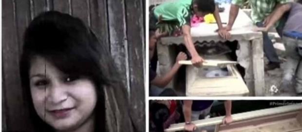 Ruídos estranhos vinham do caixão da moça e o vidro estava quebrando, mostrando que ela lutou tentando sair.
