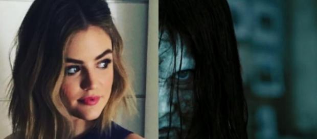 A atriz Lucy Hale e a personagem Samara. Reprodução Instagram / Dreamworks