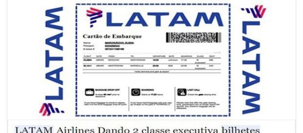 Propaganda falsa sobre passagens da Latam