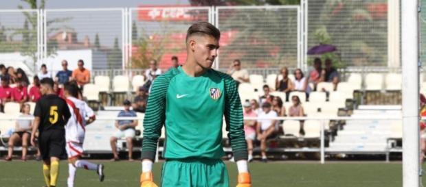 Diego Conde durante el primer partido de liga Juvenil División de Honor frente al Rayo Vallecano.
