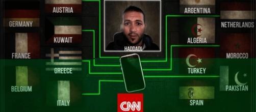 Le portable d'Haddadi a révélé les origines et localisations de ses correspondants (graphique CNN)