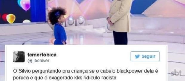 Foto Montagem: Silvio Santos, criança negra e internauta.