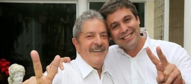 Senador Lindbergh de Farias com ex-presidente Luiz Inácio Lula da Silva.
