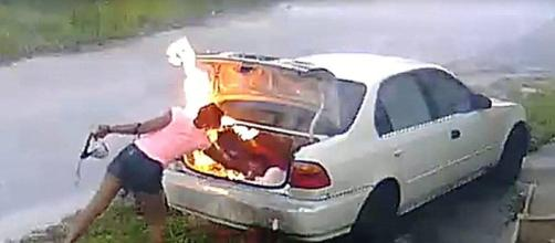 Carmen Chamblee sets car on fire. Sourced by Blasting news free to use image library
