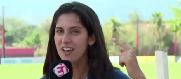 Bruna Dealtry: bom humor e pensamento rápido fizeram a repórter sair bem da situação (Crédito: Reprodução)