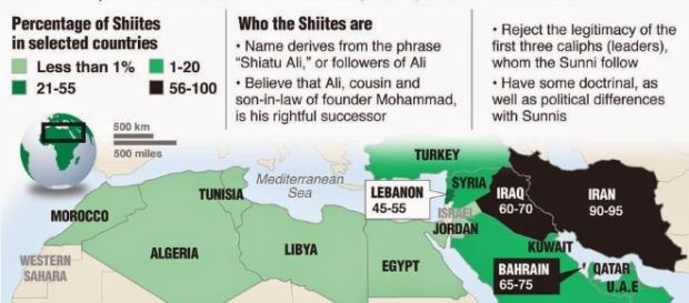 map showing Shiites in Middlle East./ Photo sourced via Blasting News Search library creative commons.