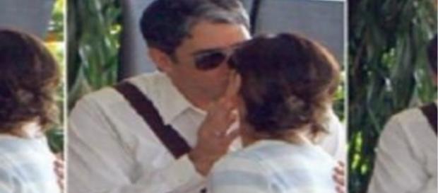 William Bonner beija ex-esposa, Fátima Bernardes