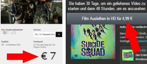 Bei Sky kostet ein HD-Film 7 Euro, bei Amazon 4,99 Euro / Fotos: Screenshots Sky, Amazon - Montage
