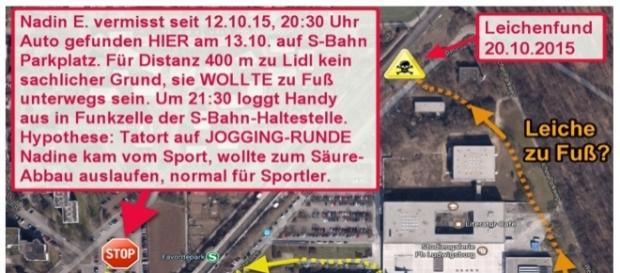 Skizze zum Thema Joggingrunde beim Mordfall Nadine E., Ludwigsburg