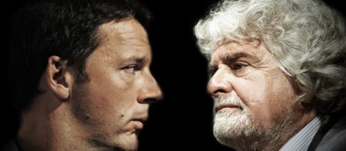 Matteo Renzi e Beppe Grillo in difficoltà