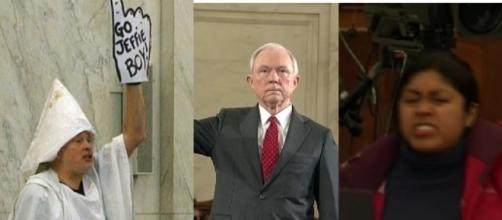 Jeff Sessions hearing protesters, via Twitter