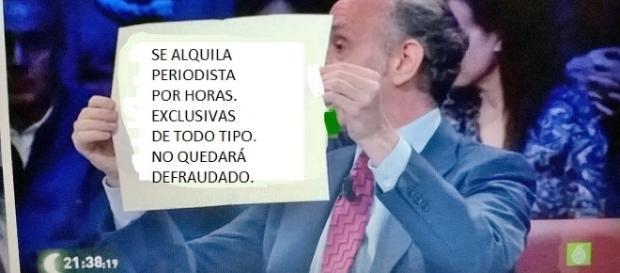 Parodia de una de las costumbres de Eduardo Inda: sus cartelitos repletos de frases pancarteras.