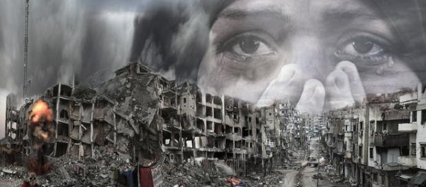 Zona urbana destruida como consecuencia de bombardeos indiscriminados