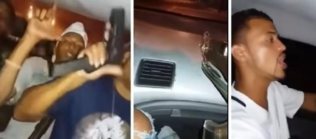 Criminosos exibem armas em carro