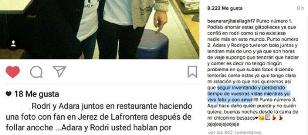 Adara y Rodrigo, en el punto de mira.