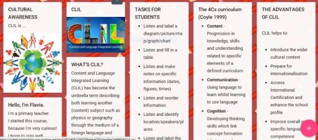 Esempio padlet per il corso gratuito Clil