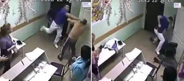 Nas imagens é possível ver o médico agredindo o paciente que estava sem camisa.