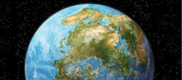 Projeção dos pesquisadores mostra a união das Américas com Europa e Ásia em 250 milhões de anos (Nicole Rager Fuller)