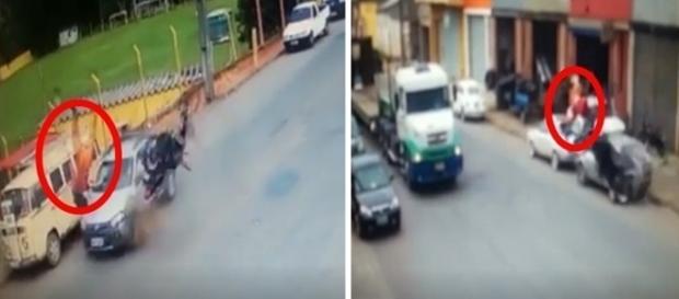 Vítima e moto dão piruetas no ar após a batida.
