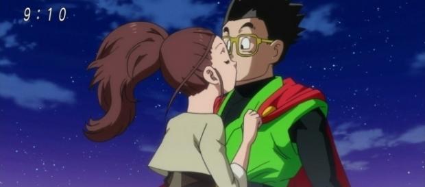Gohan es besado por la joven actriz
