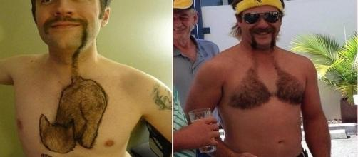 Homens que depilaram o peito com desenhos.