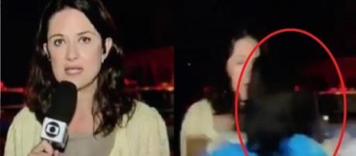 Jornalista foi agredida de repente durante reportagem
