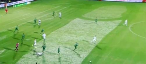 Mesmo com a genitália desenhada no gramado, os jogadores tiveram que continuar a partida