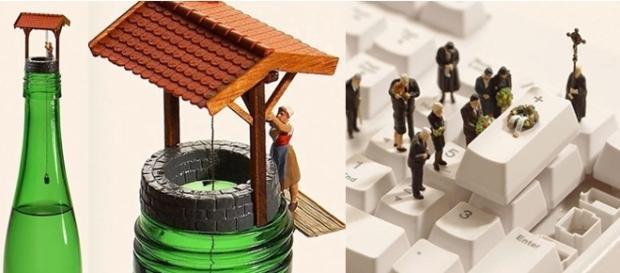 Com simples miniaturas, o artista criou cenas incríveis