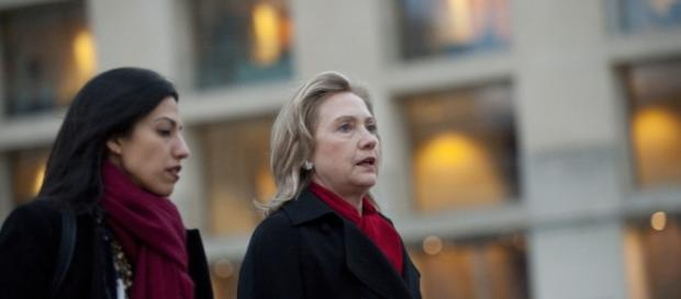 Huma Abedin with Hillary during better days. Photo BN support