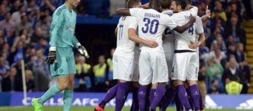 Fiorentina esultanza vs Chelsea