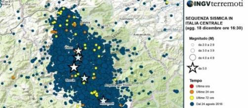 La mappa degli eventi sismici del 18 gennaio