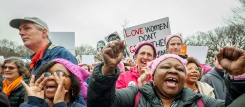 Barbara Cooper and Cynthia Butler, VA., attended the march. January 21, 2017. (Photo: Mary F. Calvert for Yahoo News)