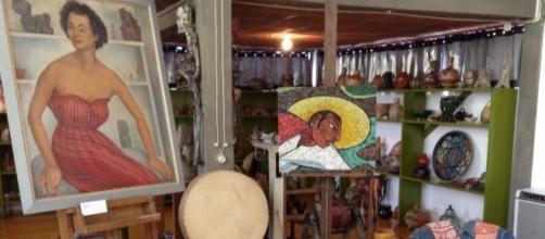 La herencia de Diego Rivera algo polvorienta en su estudio de San Ángel.
