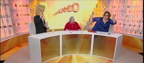 Leão Lobo, Mama Bruschetta e Homem do Saco apresentando o Fofocando - Reprodução/SBT