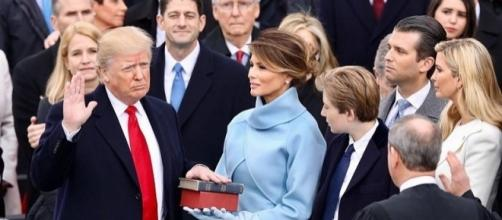 President Donald Trump at his January 20 inauguration, in Washington, D.C. / Official White House Facebook page, Wikimedia Commons Public Domain