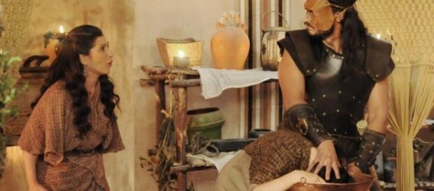 Léia, Yana e Tobias em 'A Terra Prometida' (Divulgação/Record)