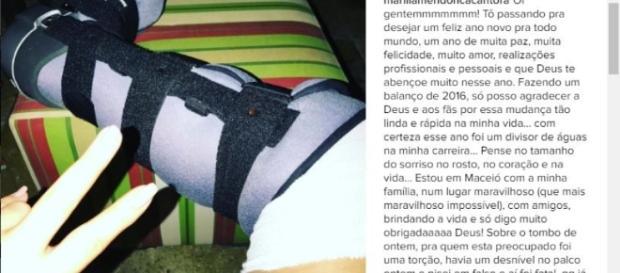 Marília Mendonça deixou uma mensagem para seus fãs no seu perfil do instagran.