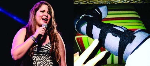 Marília Mendonça cai em palco e mostra pé imobilizado