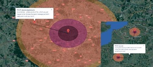Simulation sur Paris et Bruxelles des dégâts d'une bombe atomique de 57 Mt. Melun est juste en périphérie du rayon depuis Paris.
