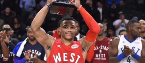 With coming off the bench this all-star game, Russell Westbrook will try to win three straight all-star MVPs