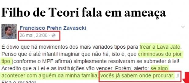 Filho de Teori Zavascki revela ameaças à sua família